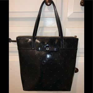 Patent leather polka dot Kate spade tote.